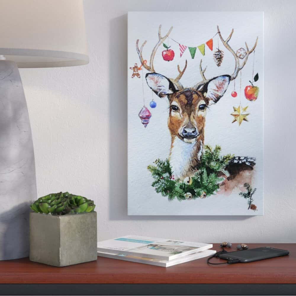 Tis The Christmas Season Painting Print On Wrapped Canvas Home Decor Right Away